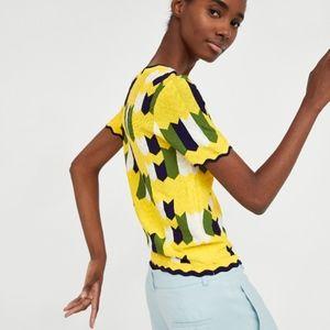 Zara Knit Geometric Jacquard Top